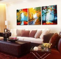 Cheap Wall Decor Modern hand-draw Art Oil Painting Large 3 piece canvas NO frame+gift