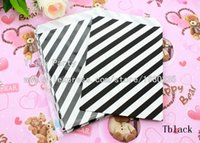 Cheap Personality 325pcs lot Birthday Party Black Oblique Strip Design Food Paper Bags Biodegradable Cake Candy Kraft Goods Gift Bag