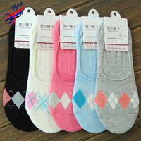 argyle socks women - FLYING Best Sell Cotton Socks Women Casual Argyle Basics Elastic Nets Ventilation Retro Sock Female Ankle Sock Party Dress
