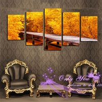 Cheap Modern Art Picture 5 Pcs More Size Can Choose Canvas Print Painting for Living Room Wall Art Golden Money Tree Like Full
