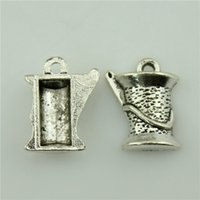 antique thread spools - 200pcs mm antique silver plated spool of thread charm diy vintage jewelry