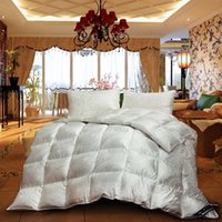 Wholesale hot white grey mixed natural goose down comforter Grade A silk jacquard cover TC quilt queen king size Europe Royal style