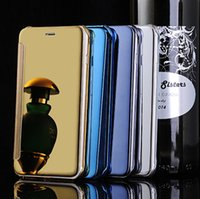 Wholesale For S6 Edge case Official Flip smart sleep wake cases Mirror view clear PC Transparent cover For Samsung Galaxy S6 iphone S plus