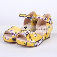 Wholesale Wlmonsoon Summer Girls Princess Plum Flower High heeled Sandals Big Kids Fashion Sandals New Waterproof Sole Shoes K024