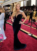 Wholesale 88th Academy Awards Oscars Celebrity Dresses With Sexy Sheer Crew Neck Crystal Beading Formal Evening Dresses Ball Gowns Mermaid