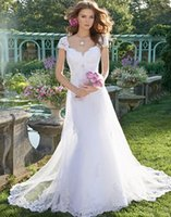 Wholesale Cheap Lace Gowns China - Romantic Lace Mermaid Wedding Dresses Sexy Elegant Cheap Simple Vintage Tulle Wedding Gowns Made in China