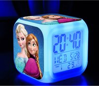 Wholesale 2014 New frozen LED Colors Change Digital Alarm Clock Frozen Anna and Elsa Thermometer Night Colorful Glowing Clock A0705