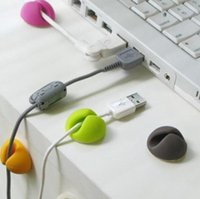 Wholesale 6PCS Cable Clip Desk Tidy Wire Drop Lead USB Charger Cord Holder Secure Table random colors