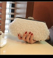 beaded evening bag - 2015 Desinger Pearl Crystal Bridal Hand Bags Bridal Accessory Womens Evening Wedding Party Clutch Bag In Stock White Ivory QM