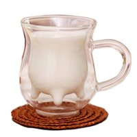 Wholesale milk cup ml galss Double Layer Cup with handle transparent round bottle drink ware kitchen bare tools Z
