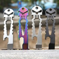 Wholesale Tactical EDC Carry Titanium Skull Keychain Multi Function Tool Pocket Screwdriver Stick Crowbar Multi Utility