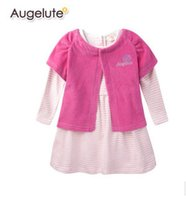 Cheap 2014 fall winter baby sets baby girls Velour short sleeve vest + stripe long sleeve dress 2pcs sets baby clothes A5044