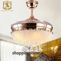 ceiling fan remote control - european simple design inch ceiling fan light blades hidden fan crystal pendant ceiling fan light