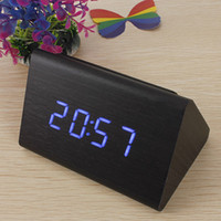 Wholesale New Black Wood Triangular Blue LED Alarm Digital Desk Clock Wooden Thermometer