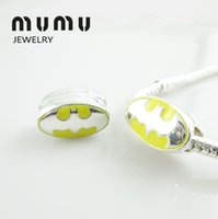 Wholesale Brand New silver plated Loose Beads Yellow Batman Logo European Charms Pandora Style big hole Beads Fit Snake Chain Jewelry