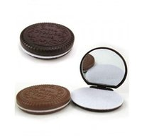 Wholesale Chocolate Sandwich Biscuit Makeup Mirror Chocolate Portable Mirror Brown Plastic Chocolate Cookies Makeup Tools Face Compact Mirror Comb Hot
