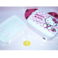 Wholesale HelloKitty Plastic Lunch Box Kawaii Pattern Super Cute cm cm cm Children Lunch Kitty Bowl Student Tableware Food Container
