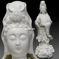 Wholesale 12 inch Buddhist supplies crossing Bodhisattva statues dedicated to the opening Dehua porcelain ornaments home accessories