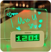Wholesale Blue Green Led Luminous alarm clock with Calendar thermometer lazybones Alarm Clock digital clock Fluorescent Message Board