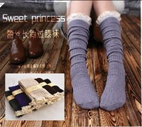 Women ladies knee socks - Leg Warmer Boot Socks for woman autumn spring girls knitting socks with lace hem lady knee stockings half stockings Crochet Lace Trim Knit