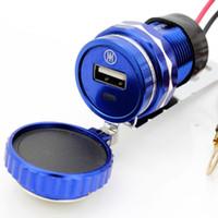 Wholesale Inverter V Aluminum Alloy Motorcycle Handlebar Cell Phone Waterproof Usb Charger Black Golden Bule