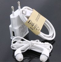 Wholesale 7100 A EU US Wall Charger Micro USB Cable Mic Earphone For Samsung Galaxy S4 I9500 S3 I9300 Note2 N7100 charger set