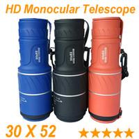Precio de Lente de enfoque dual-2015 Telescopio monocular blanco caliente del telescopio del monocular de la visión fija de la lente 30x52 del recorrido que mira el telescopio de los telescopios del zumbido del telescopio del alcance Nuevos 3 colores