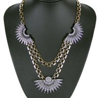 egyptian jewelry - Fashion Design Three Fan shaped Rhinestone Charm Vintage Pendants Necklaces Statement Ancient Egyptian Women Jewelry NK776