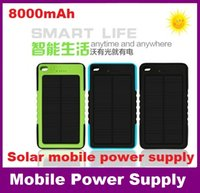 Wholesale 8000mAh Solar power Charger and Battery Solar Panel waterproof shockproof Dustproof portable power bank for Mobile Cellphone Laptop