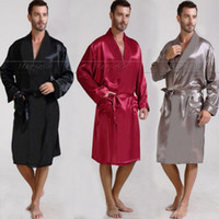 Wholesale Mens Silk Satin Pajamas Pajama Pyjamas PJS Sleepwear Robe Robes Nightgown Lounge wear S XL Plus Black