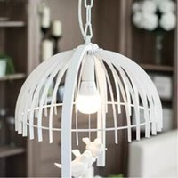 Wholesale Contracted white small cage lamp modern character design Sitting room bedroom wrought iron lamp hall bar single head droplight with bulbs