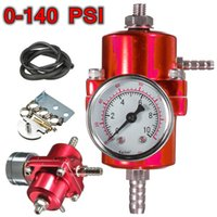 Wholesale 0 PSI NEW Red Universal Fuel Pressure Regulator Adjustable Pressure Gauge order lt no track