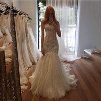 Cheap 2015 Arabic Sheer Ruffles Wedding Dresses Lace Mermaid Bridal Gowns Exposed Boing Sexy Long Vestido De Novia Para Casamento