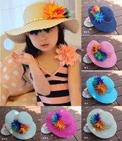 Wholesale Summer Princess cap Fashion sun hats beach hat sun straw hat kids girls sun hat HX
