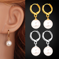 Wholesale Real Gold Plated Drop Pearl Beads Ball Earrings High Quality Small Cheap Jewelry For Women Jewelllery MGC E1287