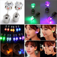 Wholesale 2015 retail Pair LED Earrings Glowing Light Up Crown Ear Pendant Stud Stainless For Party