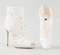 Cheap White High Heels Lace Wedding Shoes Peep-toe Elegant Charming Stiletto Heel Handmade Bridal Shoes Women Sandals Custom Made Evening Boots