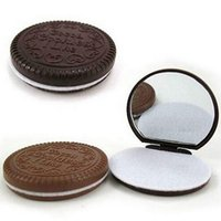 Wholesale Portable Cute Chocolate Cookie Shape Cosmetic Makeup Mirror Comb Lady Girl