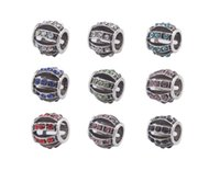 Wholesale New Arrive Fashion Mixed Colors Rhinestone Charm assorted design metal Beads Fit European Bracelet