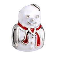 big bracelets for men - Christmas Charms Beads Snow Man Style Big Hole Loose Beads charm For DIY Jewelry Bracelet For European Bracelets DY45