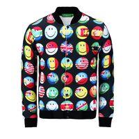 army flag covers - FG Flag smile face whole clothing print jacket men women s emoji Outerwear d jackets autumn JK05