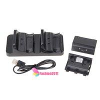 Los controladores de carga dual del muelle del cargador Xbox One Kit de carga con la caja al por menor 2 baterías recargables Cable de carga de envío libre 010208