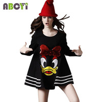 Wholesale 2016 Fashion Maternity Clothing Cartoon Big Round Neck Dress Pregnant Women Loose Long sleeve Maternity Plus Size Dress L XL