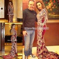 2016 Las tarifas atractiva Myriam Dividir los vestidos de noche de la sirena Hundiendo cuello en V manga larga de poder del pétalo árabe formal de los vestidos de la celebridad del partido BA0716