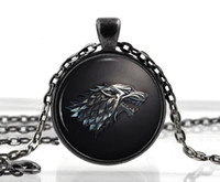 wolf jewelry - Game of Thrones Necklace Pendant House of Stark Black Wolf Jewelry Gothic Glasses Pendant Necklace Sweater Chain Gift For Kids