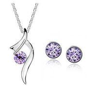 austria swarovski - New Fashion Austria crystal jewelry with Rhinestone necklace and earrings Swarovski Crystal jewelry set for woman z063