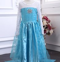 Wholesale frozen elsa blue dress kids costumes frozen dress for girls Frozen cloak gauze dress long sleeve dress girl princess