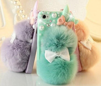 Wholesale Handmade DIY bowknot pearl Gem crystal real Rabbit Rex fur phone case for iphone4s s plus rhinestone shell