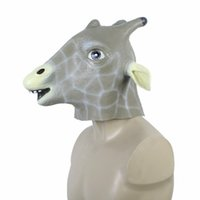 Wholesale Unique Halloween Costume Party Christmas Theater Prop Latex Animal Giraffe Head Mask order lt no track