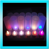 electronic candle - LED Flameless Remote Candle Plastic Rechargeable Multi Color Tea Light Electronic Home Decor Candle Light